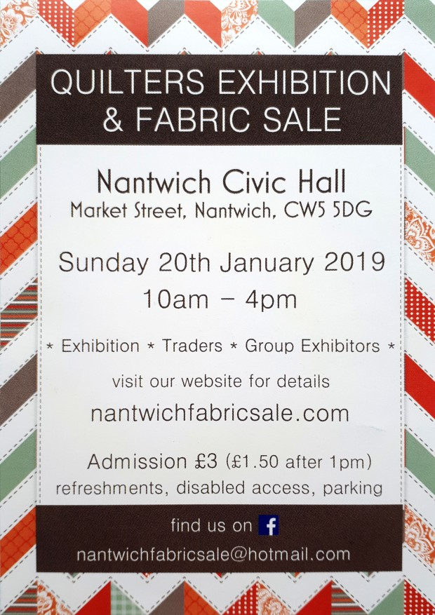 2018 Apr 16 2019 Nantwich Fabric Sale leaflet tracy fox